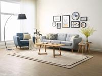 纾康 安定耐用实木沙发脚 吸湿透气棉夏布 可全拆洗 北欧气概沙发套装(1+3)(蓝色单人位+浅灰色三人位)