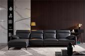 A013#瑞德家居  风气系列  认识极简气概 纳帕真皮 时髦转角沙发套装(1+3+右贵妃)