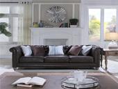 B101#瑞德家居 维多利亚系列 简美气概 实木框架 皮艺沙发三人位