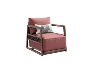 905#瑞德家居  系列  新中式气概  金檀色  小乌金  仿皮休闲椅