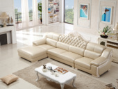 纳德威  古代气概 皮沙发 功效性头枕靠包可拆洗时髦转角沙发1+3+右贵妃