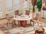 磐匠 大理石餐桌古代繁复实木餐桌 圆餐桌圆形北欧餐桌圆桌(含转盘)