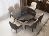 纳德威 可伸缩1.5米餐桌 带电磁炉功效 后古代轻奢系列 钢化玻璃台面 不锈钢拉丝钛金底架