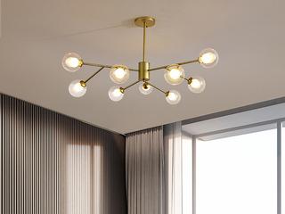 北欧气概 金色铁艺烤漆+玻璃8036-9吊灯(含G9光源5w暖光)