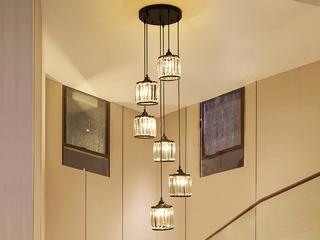 轻奢 铁艺+水晶罩1612-6圆盘餐吊灯(含E27秃顶强暖光12W)