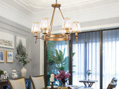 领秀照明 轻奢 铁艺+水晶罩1633-6 古铜色吊灯(含E14秃顶强暖光12W)