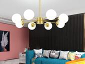 领秀照明 北欧 铜本性+玻璃8803-8吊灯(含E27龙珠泡暖光7W)