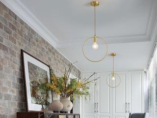 北欧 铜本性8827-1DD 圆形餐吊灯(含E27矮泡暖光5W)