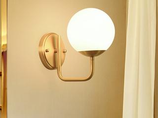 北欧 铜本性+玻璃8821-1B壁灯(E14秃顶强暖光12W)