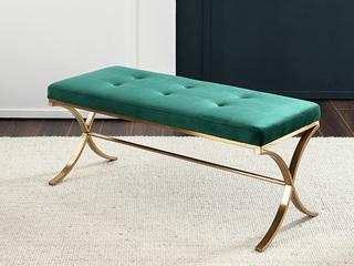 轻奢气概 优良实木 高级绒布 床尾凳