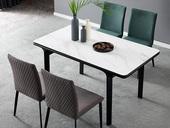 洛林菲勒 极简气概 实木脚 岩版 1.4米餐台