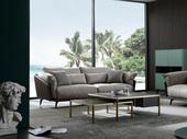 洛林菲勒 极简气概 科技布+压纹皮 羽绒 实木底框架 三位沙发