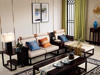 新中式 西北亚入口红檀木 优良细麻(面料) 真丝抱枕 K909 转角沙发(3+脚踏+案几)