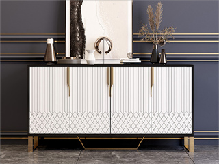 轻奢气概 高等密度板钢琴烤漆柜子 不锈钢架子 玻璃1.2m餐边柜