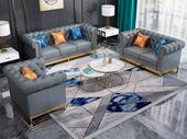 卡伦斯特 轻奢气概 高级棉夏布 不锈钢拉丝封釉镀钛金 灰色 组合沙发(1+2+3)(抱枕随机发货)