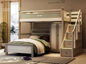 梓华轩 简美 卡慕斯系列 泰国入口橡胶木 儿童组合床套装(上床+下床+衣柜 不含梯柜)
