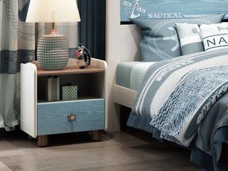 简美气概 主材北美洋蜡木 新西兰松木 北美红橡木 陆地蓝 拼色 儿童单抽床头柜