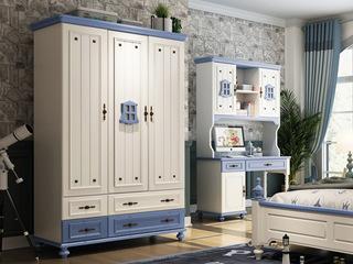 简美气概 优良橡胶木 环保安康 开阔爽朗天蓝 儿童衣柜