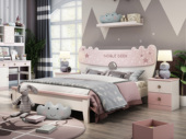 柏莎贝尔 简美气概 优良橡胶木 环保安康 坚忍耐用 1.5m儿童床