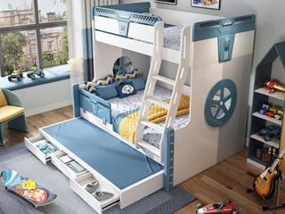简美气概 优良橡胶木 环保漆 耐久耐用 宁静防护 1.5m双层儿童床(含拖床)