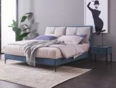 玛蒂芙 古代繁复 科技布 实木框架 加固钢木筏骨架 九孔纤维绵 灰色+蓝色床 1.8*2.0米床