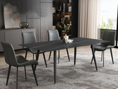 菲格 极简气概 直边圆角岩板台面 金属圆角脚 1.4米餐桌