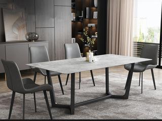 极简气概 岩板台面 碳素金属脚 1.4米餐桌