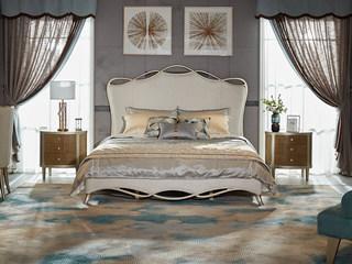 简美风格 北美进口榉木坚固框架   松木床板条布艺床 1.8*2.0米床