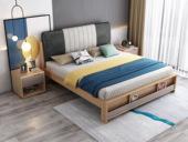 荣之鼎 北欧气概 泰国入口橡胶木 纳米科技布面料 松木床板条 1.8*2.0米床