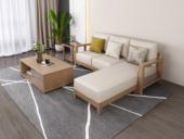 荣之鼎 北欧气概 泰国入口橡胶木坚忍框架 优良棉夏布艺 三人位左贵妃 转角沙发
