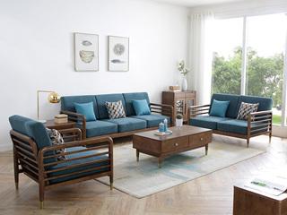 北欧气概 优良泰国入口橡胶木 高密度海绵软包 轻奢沙发 雀跃厚重 沙发组合(1+2+3)
