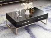 梵克美家 轻奢气概 镀金不锈钢 细致滑腻台面 时髦黑 1.3m茶几