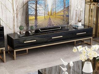 轻奢气概 镀金不锈钢 细致滑腻台面 时髦黑 1.8m电视柜