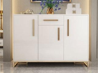 轻奢气概 镀金不锈钢 细致滑腻台面 文雅白 鞋柜