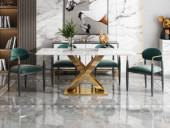 梵克美家 轻奢气概 中华白大理石 镀金不锈钢 艺术弧形支架 1.4m餐桌