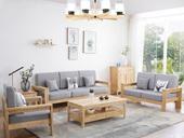 荣之鼎 北欧气概沙发 优良橡胶木 高密度海绵软包 原木色实木 回归天然 沙发组合(1+2+3)