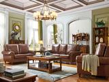 维格兰 沙发套装 名师立荐 解释美式艺术典范仿古铜钉 内置高密度海绵油蜡皮皮艺沙发套装(1+2+3)