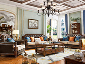 维格兰 泰国深山直采橡胶木 匠造仿古铜钉 简美气概沙发内置高弹海绵 透气温馨皮布沙发(1+2+3)