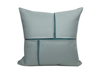 轻奢 肌理布+皮革 浅蓝色 斑纹 抱枕