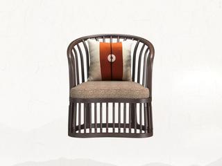 新中式气概 乌金木 竖纹美学圆弧单人 休闲椅
