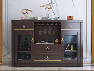 新中式气概 橡胶木材质 紫檀色 复旧抽屉储物餐边柜