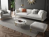 慕梵希 轻奢气概 全实木框架 羽绒公仔包 1+3+脚踏 科技布沙发组合