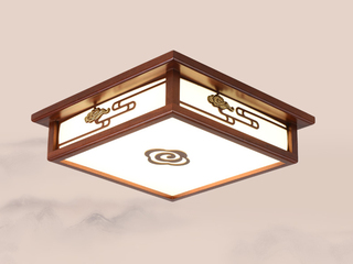 【包邮 偏僻地域除外】 新中式 海棠木正方形46cm双色光源吊灯 客堂寝室书房灯具(含光源)
