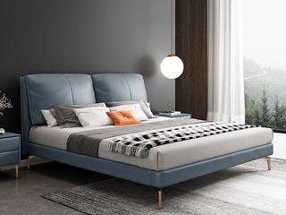 轻奢 全实木内架 白鹅羽绒 石板蓝 温馨柔嫩1.8米科技布床(搭配10公分松木筏骨架)