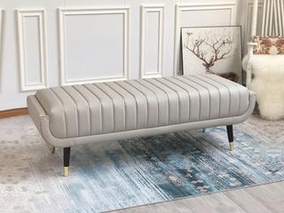 轻奢 全实木内架 舒软海绵 皮艺床尾凳