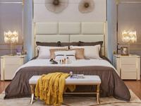 卡伦斯特 轻奢风格 不锈钢镀钛金 高弹海绵 优质超纤皮1.8*2.0米床