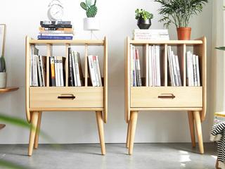 北欧风格 榉木坚固框架 原木色 小边柜