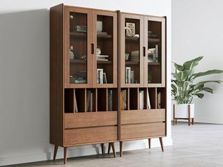 北欧风格 榉木坚固框架 细腻质感 胡桃色 书柜(单个)