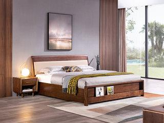 意式极简 细腻胡桃木 耐磨耐腐 优雅木纹 时尚超纤皮靠包 1.8*2.0m高箱床