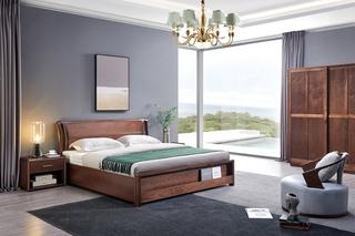 意式极简 优质胡桃木 别致床头设计 耐磨耐腐 床尾收纳设计 1.8*2.0m高箱床